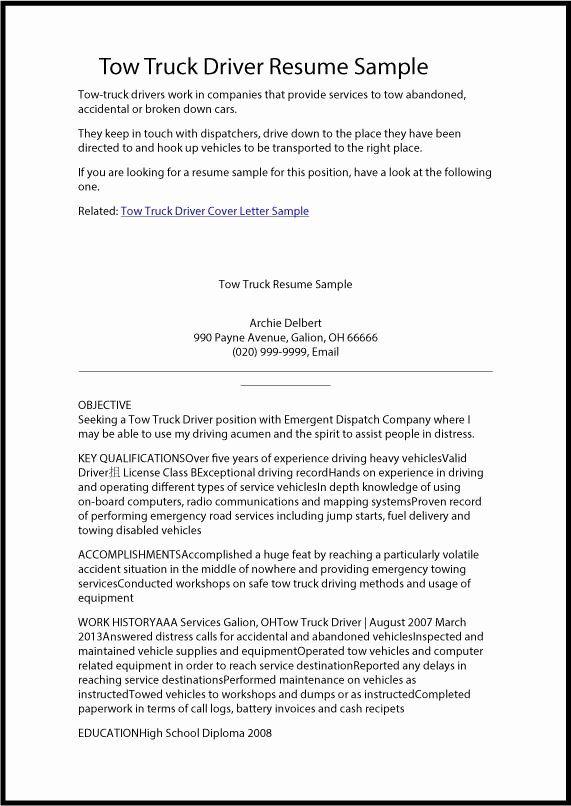 Truck Driver Resume Sample Unique All Categories G Tfs In 2020 Job Resume Samples Resume Resume Examples