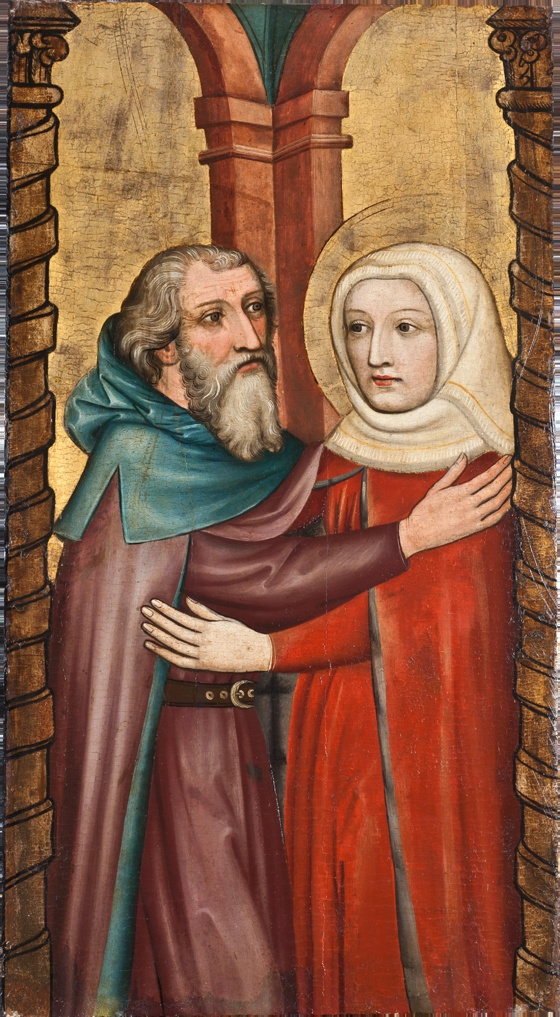 the meeting of anna and joachim at the golden gate - master of the bamberg altarpiece c. 1435