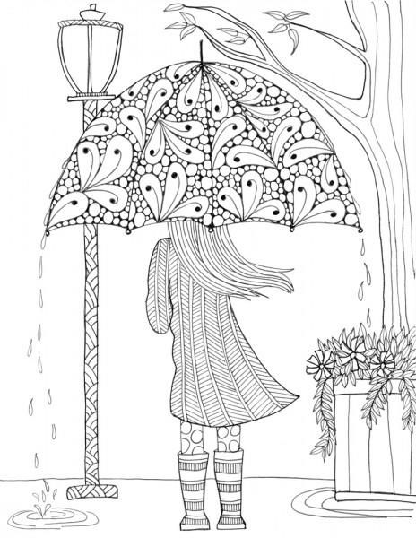 April showers bring May flowers, and rainy day coloring pages bring floral ones! When you find yourself indoors on a rainy April day, color the Prettiest Umbrella Girl Coloring Page. This free adult coloring page is simply darling.