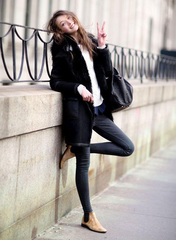 Street style com look de inverno.