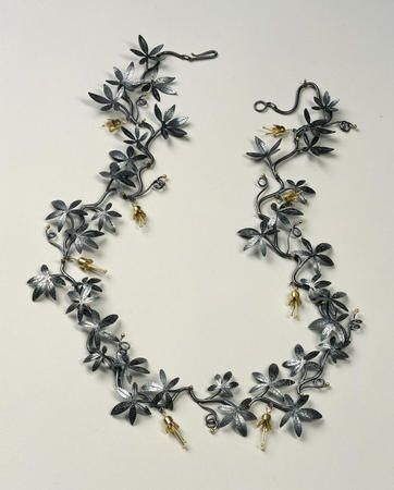 """Vitis Amabilis"" by Suzan Rezac; oxidized silver 18K gold vine necklace"