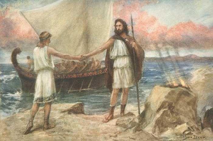 Jan Styka - Telemachus invites Theoclymenus to his boat ...