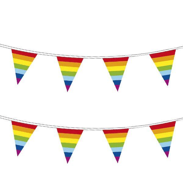 Plastic regenboog vlaggenlijn 10 meter bij Fun-en-Feest.nl.