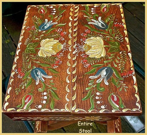 Entire Bavarian Folk Art Folding Stool Top by Katie Andersen