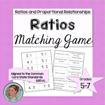 FREE GAME: Introduce students to ratios and the corresponding language with this matching game. Students will match ratios in the form a:b to verbal phrases that represent the same ratio. This is a fun, interactive way to develop in students an understanding of the ratios that exist around them and how they can be represented mathematically.  Free to Discover.