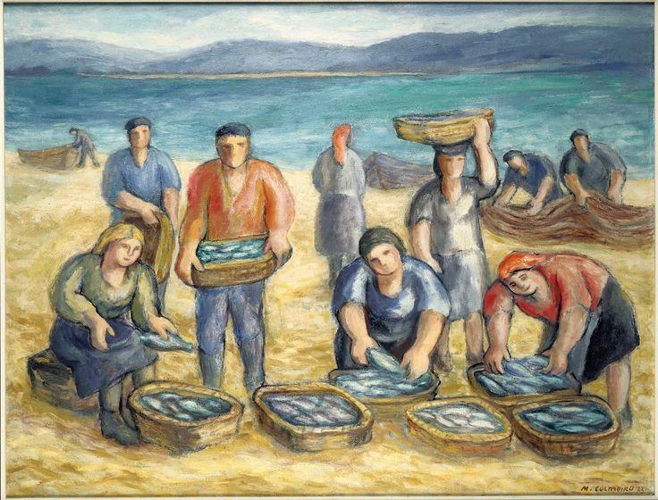 Manuel Colmeiro. Pescadores (1973).La playa se anima al atardecer, al regreso de la pesca, unos recogen las redes y otros transportan las cesta, que llenas de pescado se alínean en primer término. No es una escena costumbrista, sino la evocación de un trabajo cotidiano en el entorno marinero. Algunos personajes, silenciosos, reclaman, en sus actitudes, una condición simbólica.