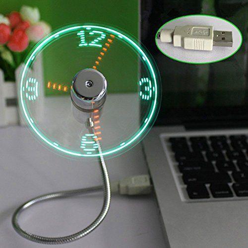 Tenflyer New LED USB Fan Clock Mini Flexible Time with LED Light – Cool Gadget