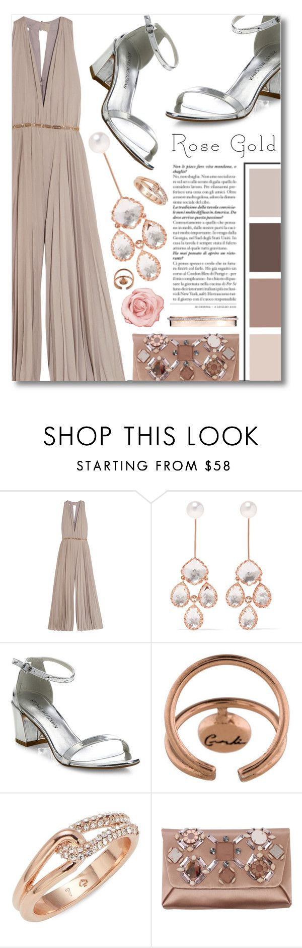 """Rose Gold"" by jleigh329 ❤ liked on Polyvore featuring Halston Heritage, Larkspur & Hawk, Stuart Weitzman, Cornelia Webb, Kate Spade, Lanvin and Messika"