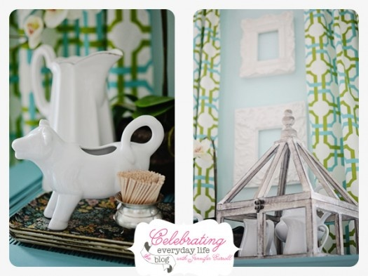 Creamer & pitchers on ASCP Provence blue hutch; How to Paint with Annie Sloan Chalk Paint {a tutorial}