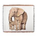 A coloured chalk drawing of a Mother and baby elephant. Lots of subtle colours when seen in full size.