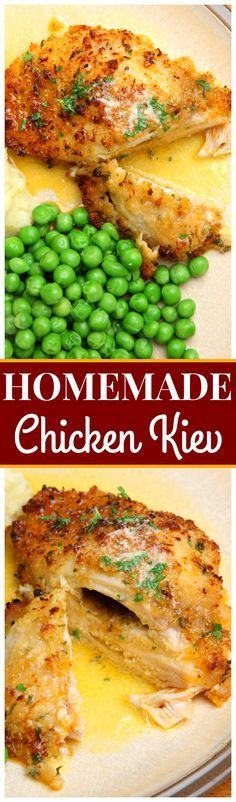 Homemade Chicken Kiev - Packed with a rich and flavorful garlic butter, this cheesy, fried chicken is deliciously juicy and steals the show every time!