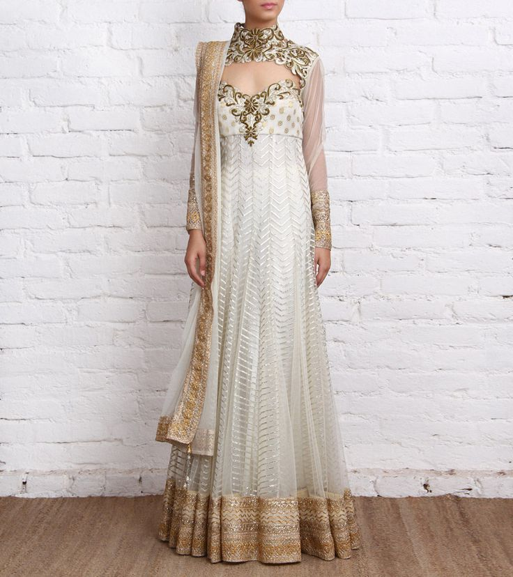 Ivory Net Anarkali Suit with Gota Work...embroidery neck design.so beautifull dress