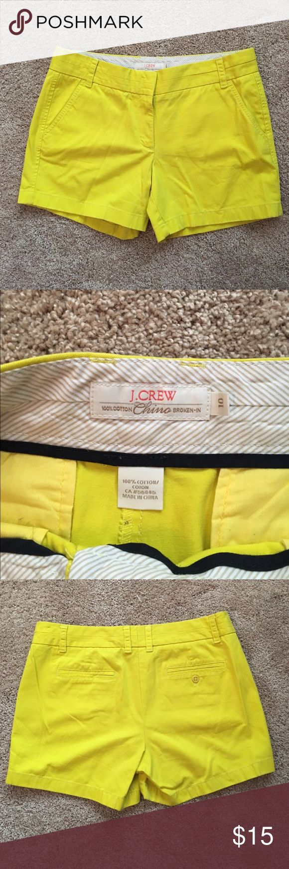 J. Crew Chino Shorts Neon Yellow J. Crew Broken-In Chino Shorts in good condition! Measurements in pictures! J. Crew Shorts