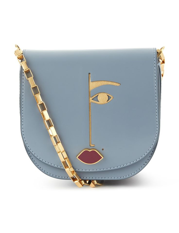 Grey Leather Dora Cross-Body Bag Lulu Guinness