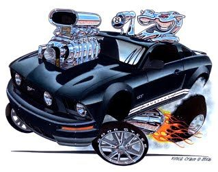 "2010 Mustang  ""Horse Power"" , classic Muscle Car drawing by Vince Crain High Octane Art"