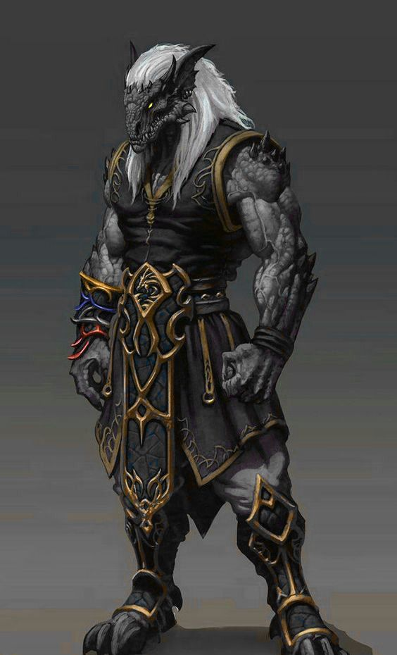 Male black dragonborn monk | Dungeons and dragons characters