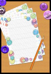 'Buttons' Writing Paper (lined) - Printable PDF