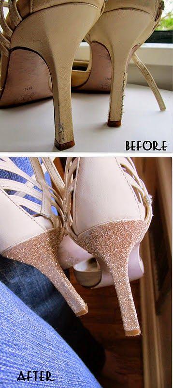 DIY: reparar unos zapatos con purpurina y pegamento