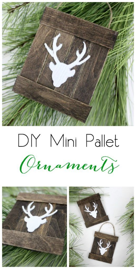Make these DIY rustic pallet ornaments with a few popsicle sticks and some jute string! great way to make christmas gifts on a shoestring or rustic christmas wall art