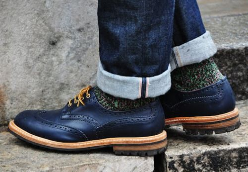 Oh the layers are coming back.: Loafers, Blue Brogue, Men Style, Street Style London, Men Fashion, Socks, Blue Shoes, Men Shoes, London Fashion Week