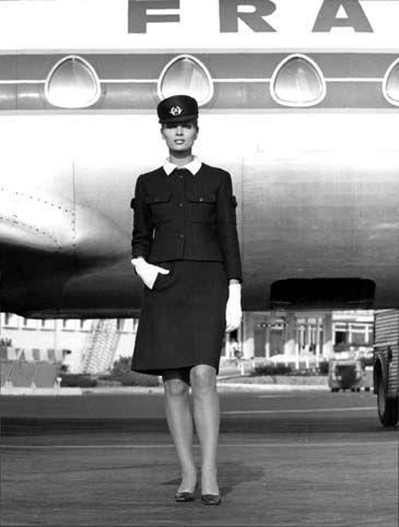 Ciao Bellissima - Art of Travel;  Air France stewardess uniform 1969 created by Balenciaga