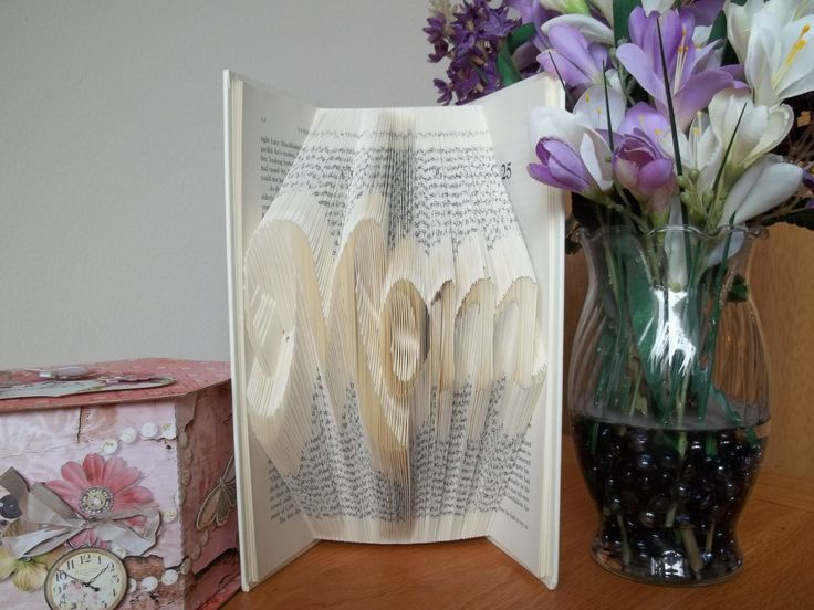 Mom, Folded Book Art, Book Sculpture, Gift for Mom, Mother's Day Gift, Mother of the Bride, Mother of the Groom - pinned by pin4etsy.com