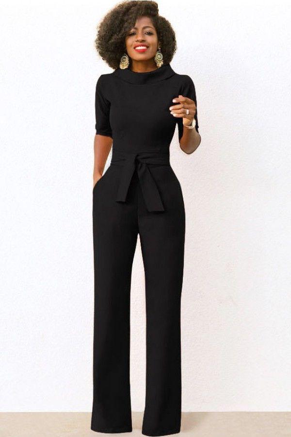 564c92fb4446 Tie Waist Pockets Half Sleeve Wide Leg Chic Jumpsuit
