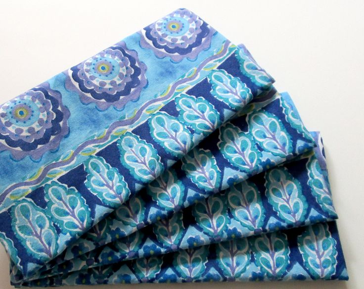 Cloth Napkins - Set of 4 - Blue Purple Design - Dinner, Table, Everyday, Wedding by ClearSkyHome on Etsy