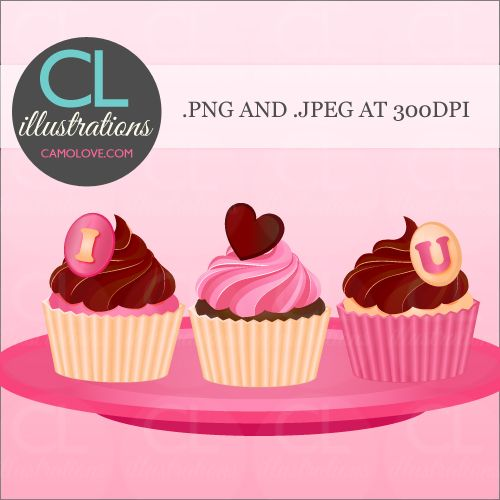 I love you Valentine's Day Cupcakes #illustration #clipart #cupcakes #valentinesday