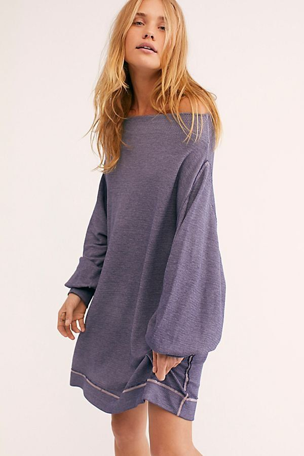 3482712d374e We The Free Vikki Tee - Oversized Off the Shoulder Purple Long Sleeve - Off  the