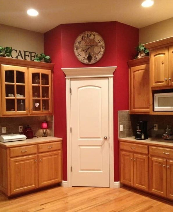 99 Cozy Red Kitchen Wall Decoration Ideas For You Red Kitchen Accents Accent Wall In Kitchen Red Kitchen Walls