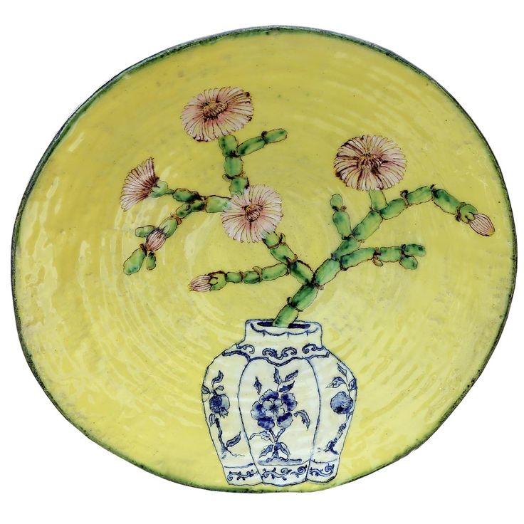 An original ceramic work by Lisa Ringwood entitled: 'Asbos branch in a vase (yellow large open bowl)', ceramic, d 36cm. For more please visit www.finearts.co.za #ceramic #LisaRingwood #Ceramicist #SouthAfricanArt #SouthAfricanArtist #ChineseCeramics #InteriorDesign #Decor #Decoration #Landscape #Fauna #Flora #Birdlife #VOCware