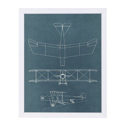 East Urban Home u0027Blueprint for Early Biplaneu0027 Graphic Art Print - white paper format