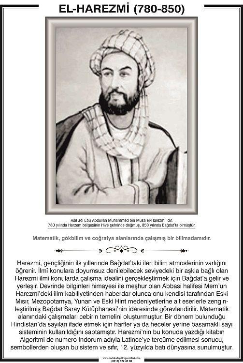 Harezmi 780 yılında Özbekistan'ın Karizmi kentinde dünyaya gelmiştir. Tam olarak ismi Ebu Abdullah Muhammed bin Musa El-Harezmi'dir. Kendisini matematik tarihinin en büyük bilim adımı olarak tanımlayabiliriz. Çünkü cebirin ve algoritmanın kurucusudur.