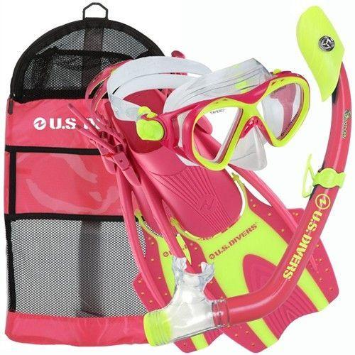 US Divers Kids Buzz Mask, Dry Snorkel, Hingeflex Fins