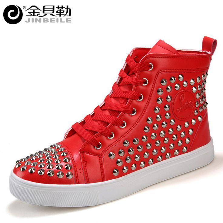 Мужчины Обувь 2016 Высокие Верхние Случайные Заклепки Обувь Мужчины Красный Новый мода Дышащий Узелок Квартиры Хлопка Зимние Ботинки Мужчины Кожаные Сапоги