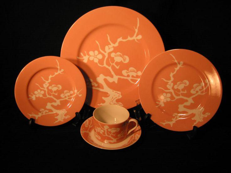 Fitz Floyd Prunier De Chine Peach Porcelain Dinnerware 5 pc Place Setting Japan  #FitzFloyd