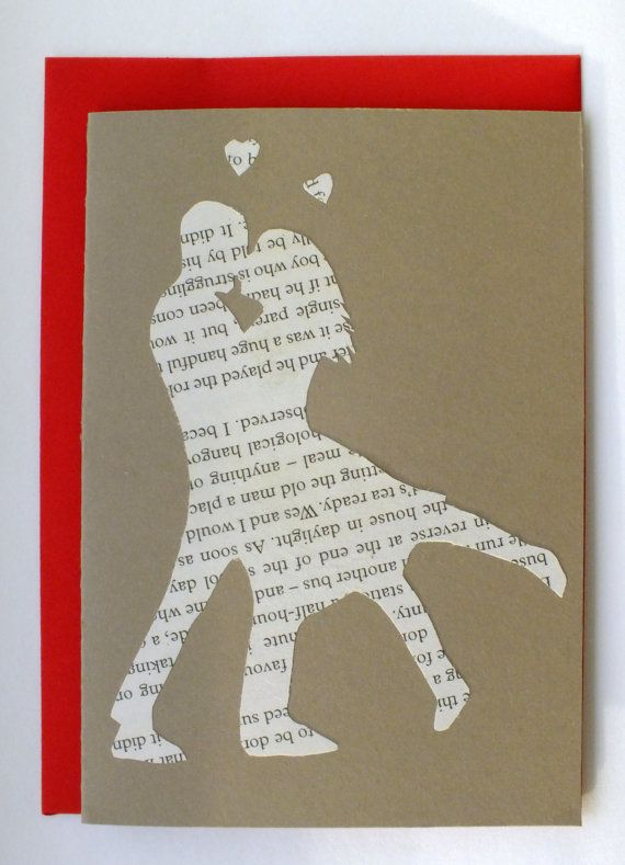 Papercut couple kissing love anniversary card by ...