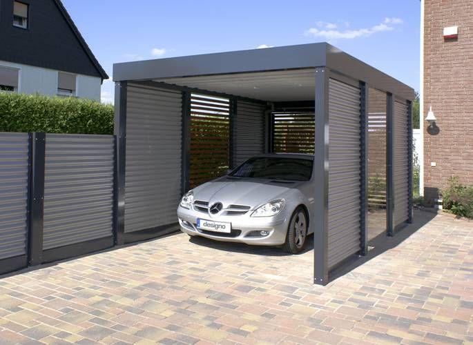 Der Carport in modernem, geradlinigem Stil schützt das Auto vor starker Sonneneinstrahlung und anderen Witterungseinflüssen. Foto: epr/Designo-Carport