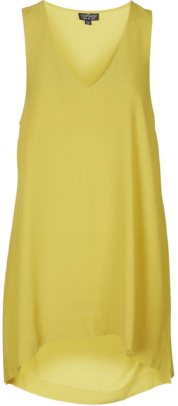 Womens canary yellow tall v neck tunic top from Topshop - £30 at ClothingByColour.com