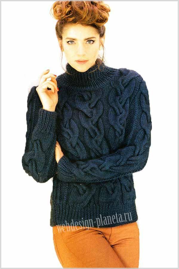 Темно-синий вязаный женский свитер спицами всегда кстати зимой, тем более со столь богатым декорированием и подчеркивающим достоинства фигуры. Для настоящих мастериц вязать такой свитер спицами - одно удовольствие....Размеры: 34-36, 38-40, 42-44, ...