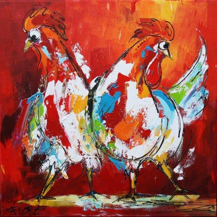 schilderij twee kippen rood oranje kipjes