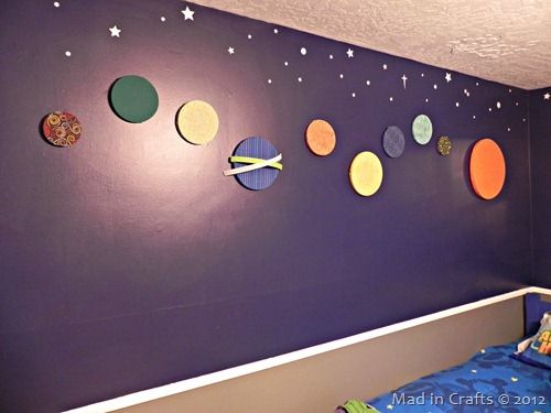 """Space Geek Bedroom Makeover - check out the """"embroidery hoop solar system"""" - just one of the amazing things in this room!"""