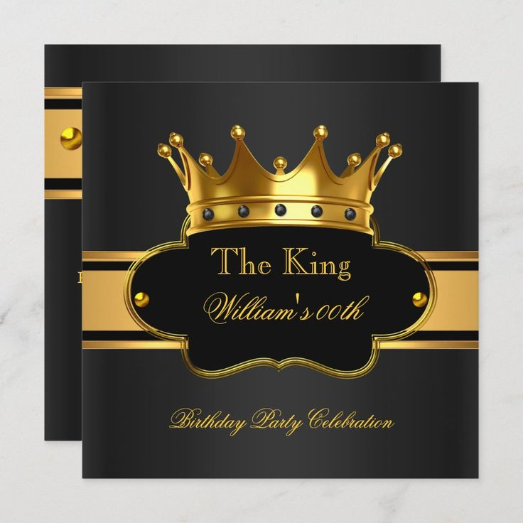 King Queen Royal Black Gold Birthday Men Or Women Invitation Zazzle Com Gold Birthday King Birthday Mens Birthday Party Invitations