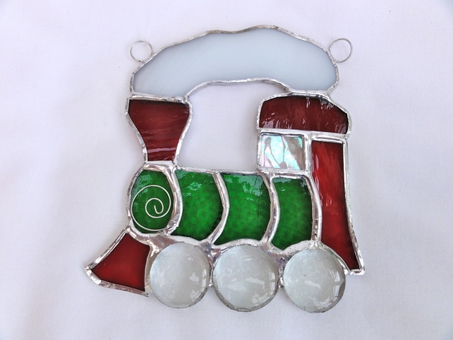 Train Stained Glass Suncatcher -- idea for a decoration for Little Free Library -- Reading Railroad