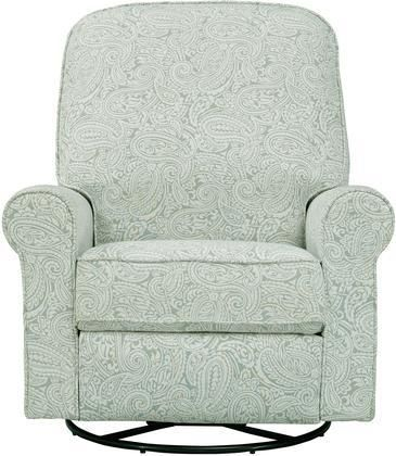Ashewick DS-911-006-533 Swivel Glider Recliner with Padded Back and Arms Sinuous Spring Suspension and Paisley Patterned in Spearmint Paisley