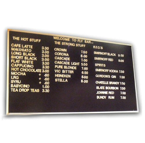 Changeable Letter Boards  -Custom made prices required on request.   1800 654 917 http://justboards.com.au/Changeable-Letter-Menu-Boards/