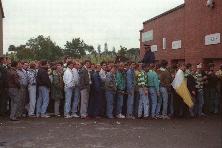 Queue outside the Celtic end, 1980s.