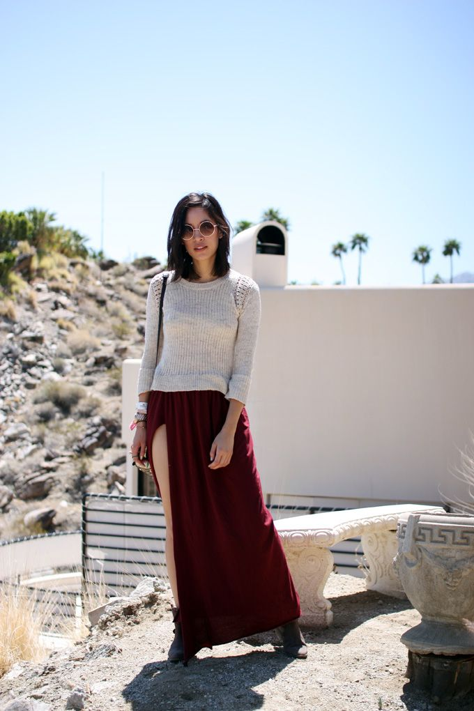 sweater + slit maxi skirt + ankle boots for transition weather
