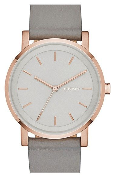 Free shipping and returns on DKNY 'Soho' Round Watch, 34mm at Nordstrom.com. A gleaming, numberless dial furthers the modernist appeal of a classic round watch.